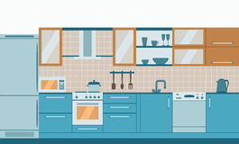 Kitchen interior flat design  with home furniture and kithenware. Front view. Vector illustration. Royalty Free Stock Photo