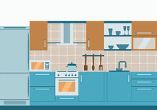 Kitchen interior flat design  with home furniture and kithenware. Front view. Vector illustration. Royalty Free Stock Images