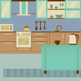 Kitchen interior flat design  with home furniture and kithenware. Front view. Vector illustration. Laconic soft palette. Kitchen interior design with home Stock Images