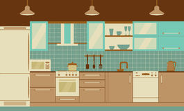 Kitchen interior flat design  with home furniture and kithenware. Front view. Vector illustration. Stock Images
