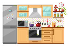 Kitchen interior. Flat design vector illustration of kitchen interior with utensils, food and devices. Including icons of fridge, oven, microwave, kettle, pot vector illustration