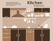 Kitchen interior in flat infographic style Stock Photos