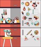 Kitchen interior flat line Stock Photos