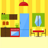 Kitchen interior in flat style illustration. Stock Photo