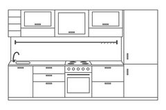 Kitchen interior front view, linear sketch. Line kitchen with furniture, stove, fridge, cupboards and shelves. Vector. Stock Photography