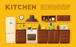 Kitchen interior with furniture. Cartoon vector illustration. Kitchen interior. Cartoon vector illustration. Table, stove, cupboard, cooker and fridge. Home Royalty Free Stock Photography