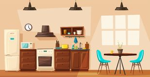 Kitchen interior with furniture. Cartoon vector illustration. Kitchen interior. Cartoon vector illustration. Table, stove, cupboard, cooker and fridge. Home Royalty Free Stock Images