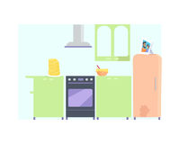 Kitchen Interior with Furniture. In flat. Kitchen with oven, refrigerator, cooker hood, table, food. Stack of pancakes on the table. Isolated vector Stock Photography