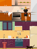 Kitchen interior with furniture in flat style. Design elements and icons, utensils, tools. Woman on kitchen vector Stock Images