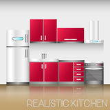 Kitchen interior with furniture in realistic style. Modern vector illustration.  vector illustration