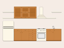 Kitchen. Kitchen interior. Furniture, refrigerator, gas stove, sink, cooker hood, cabinets and shelves on light background. Vector illustration Stock Image