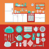 Kitchen Interior with Furniture and Set of Dishes Stock Photo