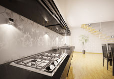 Kitchen interior with gas stove 3d render Stock Photography