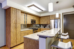 Kitchen interior with granite tops Stock Images