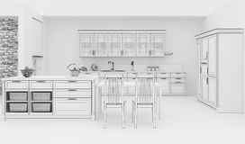 Kitchen interior grid 3D rendering Stock Images
