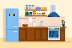 Kitchen interior home furniture table, stove and fridge Stock Photos