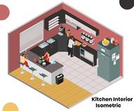 Kitchen Interior of a Home Isometric Artwork Concept stock illustration