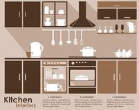 Kitchen interior infographic template vector illustration