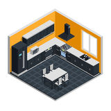 Kitchen Interior Isometric Concept. With microwave cooker and table vector illustration Stock Image