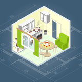 Kitchen Interior Isometric Stock Photography