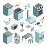 Kitchen Interior Isometric Icons Set Stock Photography