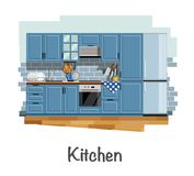Kitchen interior. Kitchen. Kitchen interior. Cabinets. Gas stove. Cooker hood. Refrigerator. Cookware. Flat style. Flat design. Vector illustration Eps10 file Royalty Free Stock Photo