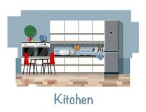 Kitchen interior. Kitchen. Kitchen interior. Kitchen interior with dining table. Cabinets, shelves, gas stove, cooker hood, refrigerator, oven, dishwasher Royalty Free Stock Images