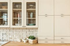 Kitchen interior loft style modern minimalism stock images