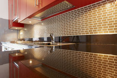 Kitchen interior in modern house a Stock Images