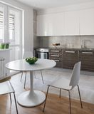 Kitchen interior in modern apartment in scandinavian style Royalty Free Stock Image