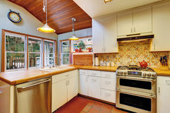 Kitchen interior in old house Stock Images