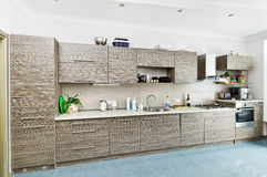 Kitchen interior with patterned gray fur Royalty Free Stock Photos