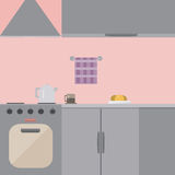 Kitchen. Interior, pink background, with light shades Stock Images