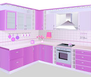 Kitchen interior with pink furniture and tiles Stock Photography