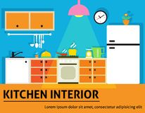 Kitchen interior poster Stock Images