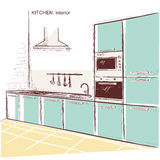 Kitchen interior room.Vector color sketchy illustration backgrou Royalty Free Stock Image