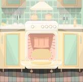 Kitchen interior with a set stock illustration