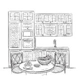 Kitchen interior sketch with dinner table Stock Photos