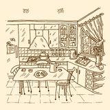Kitchen Interior Sketch Royalty Free Stock Images