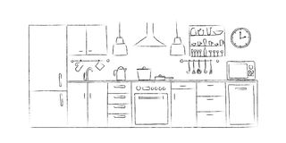 Kitchen interior sketches hand drawing front view Royalty Free Stock Photography