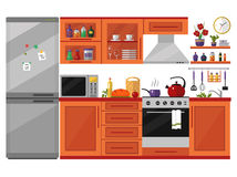 Kitchen. Interior with utensils, food and devices. Including fridge, oven, microwave, kettle, pot. Flat style icons and illustration isolated on white Royalty Free Stock Photo