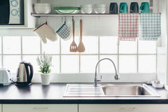 Kitchen interior and utensils royalty free stock photo