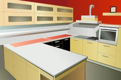 Kitchen interior vector Royalty Free Stock Photography