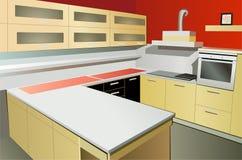 Kitchen interior vector. Kitchen interior on bright color, vector royalty free illustration