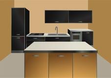 Kitchen interior vector. Modern interior of kitchen vector vector illustration