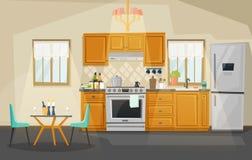 Kitchen interior view. Fridge and oven, utensil royalty free illustration