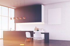 Kitchen interior: white wall and poster Royalty Free Stock Image