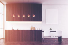 Kitchen interior: white walls and poster Stock Photos