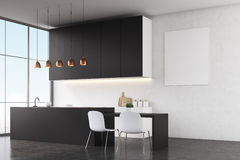 Kitchen interior: white walls and poster Stock Photography
