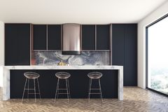 Black and marble kitchen bar Royalty Free Stock Image